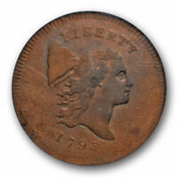 1795 NO POLE FLOWING HAIR HALF CENT NGC AU 55 BN C 6 A OVERSTRUCK COIN