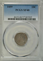 1859 SEATED DIME, PCGS EXTRA FINE 40