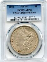 C10448- 1893 VAM-4 DOUBLED STARS TOP 100 MORGAN DOLLAR PCGS AU50