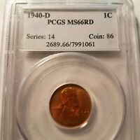 1940-D  RED PCGS MINT STATE 66  LINCOLN BU   COIN UNCIRCULATED CENT  WHOLE SET LISTED
