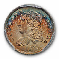 1833 H10C CAPPED BUST HALF DIME PCGS MINT STATE 65 UNCIRCULATED TONED BEAUTY