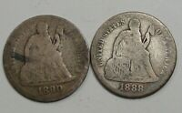 2- SEATED LIBERTY DIMES. 1888, 1890-S.  4
