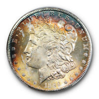 1889 S $1 MORGAN DOLLAR PCGS MINT STATE 64 UNCIRCULATED COLORFUL TONED CERT8459