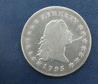 1795 FLOWING HAIR SILVER DOLLAR DETAILS OLD SCRATCH GENUINE COIN Q3L7