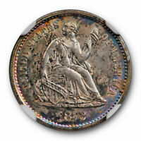 1872 S SEATED LIBERTY HALF DIME NGC MINT STATE 62 UNCIRCULATED COLORFUL TONED MM BELOW