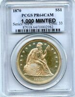 C11534- 1870 PROOF SEATED LIBERTY DOLLAR PCGS PR64 CAMEO - 1,000 MINTED