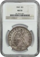 1843 $1 NGC AU55 - LOW MINTAGE DATE - LIBERTY SEATED DOLLAR - LOW MINTAGE DATE