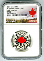 2018 $5 CANADA .9999 SILVER NGC SP70 HEARTS AGLOW GLOW IN TH