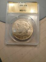 1934-D PEACE SILVER DOLLAR $1 - CERTIFIED ANACS MINT STATE 62 -  UNC BU COIN