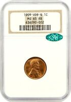 1909-S VDB 1C NGC/CAC MINT STATE 65 RB - POPULAR KEY DATE - LINCOLN CENT
