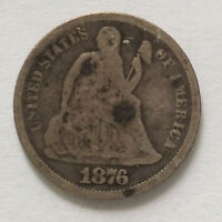1876-S SEATED LIBERTY DIME SILVER U.S. COIN A4372