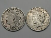 2 SILVER US DOLLARS: 1901-O MORGAN & 1922 PEACE.  5
