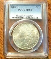 1902-O MORGAN SILVER DOLLAR PCGS MINT STATE 62  BRIGHT UNCIRCULATED CERTIFIED COIN