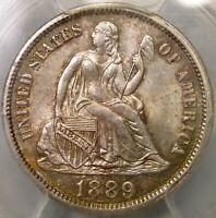 1889 LIBERTY SEATED SILVER DIME APPEALING GORGEOUS  PCGS MINT STATE 64 CHOICE GEM
