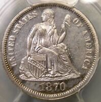 1870 LIBERTY SEATED SILVER DIME APPEALN GORGEOUS  PCGS PF 62 CAM CHOICE GEM