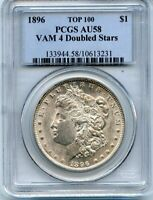 C11796- 1896 VAM-4 DOUBLED STARS TOP 100 MORGAN DOLLAR PCGS AU58
