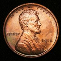 VF 1913 LINCOLN CENT WHEAT CENT -  TONING RED