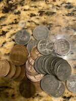 1943-D, OR S STEEL WHEAT CENT PENNY WITH ONE SHELL CASING 1944-46 CENT WWII SET