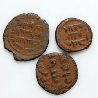 LOT OF 3 UNCERTAIN MEDIEVAL BRONZE HAMMERED ISLAMIC ISLAM CO