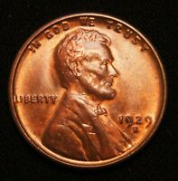 1929-S LINCOLN CENT WHEAT CENT, RED/BROWN UNC