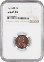 1916-D 1C NGC MINT STATE 63 RB - LINCOLN CENT