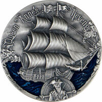 QUEEN ANNE'S REVENGE GOLDEN AGE OF SAIL SILVER COIN CFA CAME