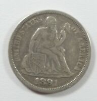1891-O SEATED LIBERTY DIME FINE SILVER 10-CENTS  LAST YEAR OF ISSUE