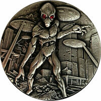 ALIEN INVASION 2 OZ ANTIQUE FINISH SILVER COIN CFA REPUBLIC