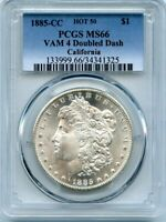 C11707- 1885-CC VAM-4 DOUBLED DASH HOT 50 MORGAN DOLLAR PCGS MINT STATE 66 - ONLY 2 FINER