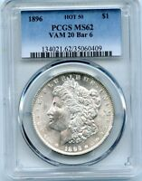 C10326- 1896 VAM-20 BAR 6 HOT 50 MORGAN DOLLAR PCGS MINT STATE 62