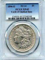 C9537- 1896-O VAM-19 SHIFTED DATE HIT LIST 40 MORGAN DOLLAR PCGS EXTRA FINE 45