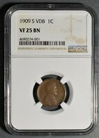 1909 S VDB LINCOLN WHEAT CENT NGC CERTIFIED VF 25 BN  LA40