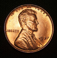 1937 LINCOLN CENT WHEAT CENT - RED GEM BU