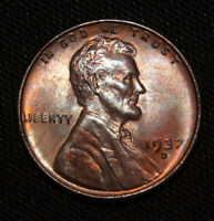 1937 D LINCOLN CENT WHEAT CENT - BU CONDITION