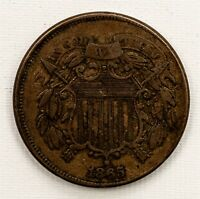 1865 TWO CENT PIECE   2C COPPER   VF/XF