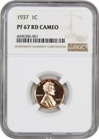 1937 1C NGC PR 67 RD CAM - LINCOLN CENT