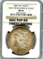 C11915- 1889 VAM-19B BAR WING & CLASH MORGAN NGC MINT STATE 64 - NGC POP 6/0 FINEST KNOWN