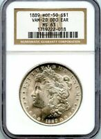 C11916- 1889 VAM-20 DDO EAR HOT 50 MORGAN DOLLAR NGC MINT STATE 63