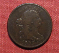 1805 STEMLESS DRAPED BUST HALF CENT   GOOD LOOKING COIN SOLI