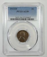 1914-D LINCOLN/WHEAT EARS REVERSE CENT CERTIFIED PCGS AU 50 1C