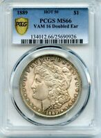 C11652- 1889 VAM-16 DOUBLED EAR MORGAN $1 PCGS MINT STATE 66 - PCGS POP 6/0 FINEST KNOWN
