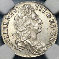 1697 NGC MS 63 WILLIAM III 6 PENCE GREAT BRTIAIN MINT STATE COIN  19102004C