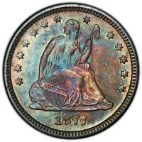 1877 S SEATED LIBERTY QUARTER PCGS MS61   STUNNING TONING   BEAUTIFUL COIN
