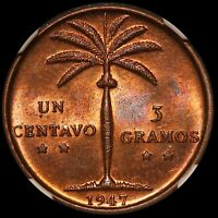 1947 DOMINICAN REPUBLIC 1 ONE CENTAVO BRONZE COIN   NGC MS 64 RB   KM 17