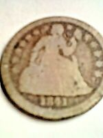 1841 US SEATED LIBERTY DIME. G/VG CONDITION