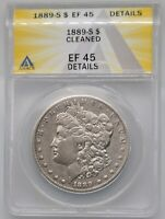 1889-S MORGAN SILVER DOLLAR ANACS EXTRA FINE  45 DETAILS CLEANED