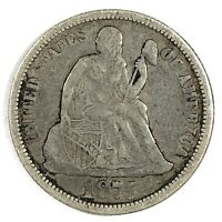 1875 UNITED STATES SILVER SEATED LIBERTY DIME - VF