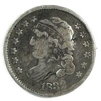1832 UNITED STATES SILVER CAPPED BUST HALF DIME - VF - DAMAGE