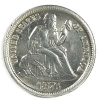 1876-CC UNITED STATES SILVER SEATED LIBERTY DIME - AU - CLEANED
