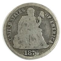 1876-CC UNITED STATES SILVER SEATED LIBERTY DIME - G